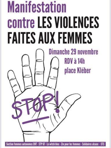 Marche contre les violences faites aux femmes @ Place Kleber - Strasbourg