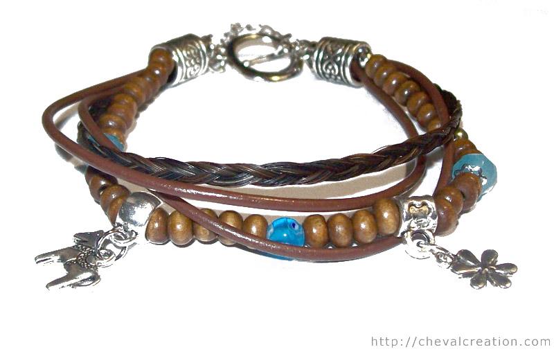 bracelet bois perles cuir tresse