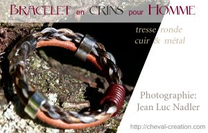 bracelet crins homme tresse cuir metal