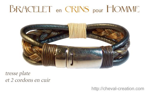 bracelet crins homme tresse plate et 2 cuir