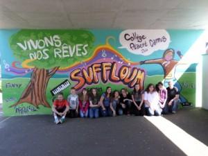 Fresque réalisée avec un groupe d'élèves de 3ème, Lycée Camus Soufflenheim, 2014.
