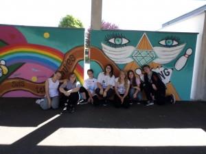 Fresque réalisée avec un groupe d'élèves de 3ème, Lycée Camus Soufflenheim, 2015.