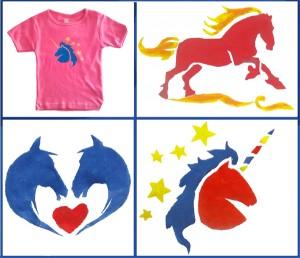 Exemples de peintures sur t-shirt réalisées par des enfants lors d' Atelier Créatif